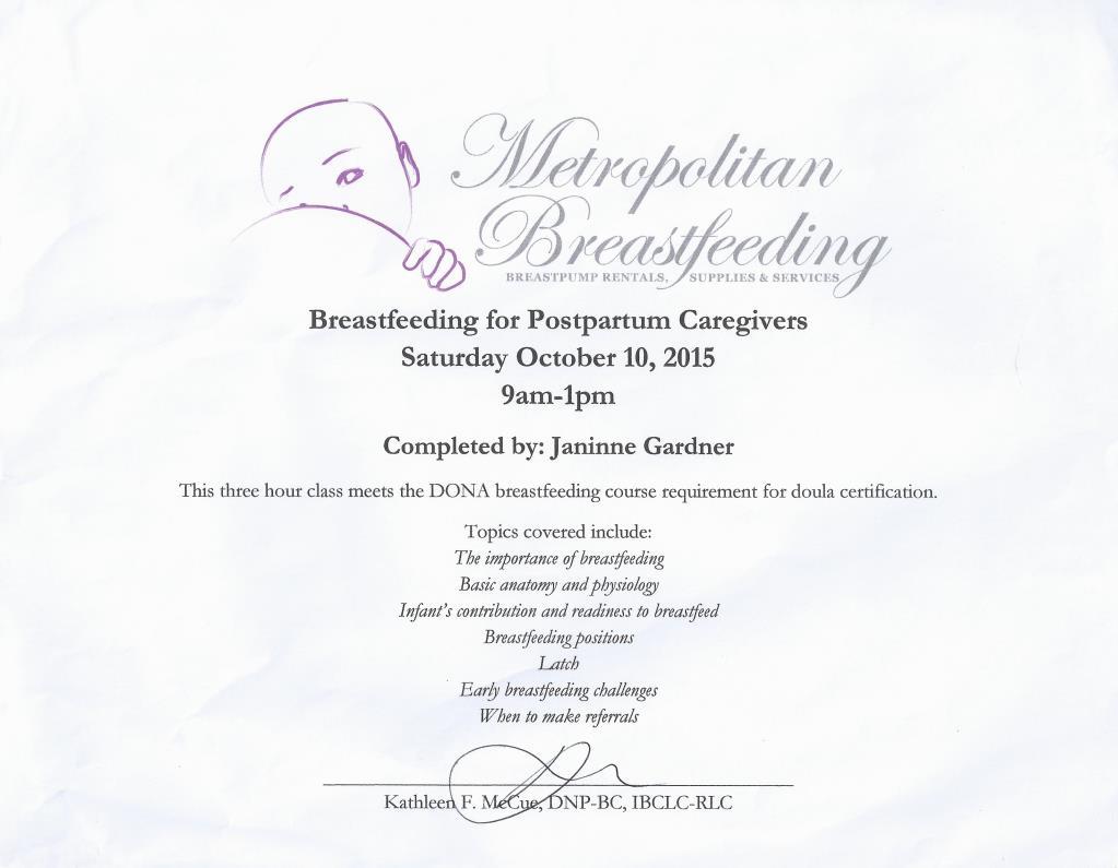 education certificates janinne gardner newborn care