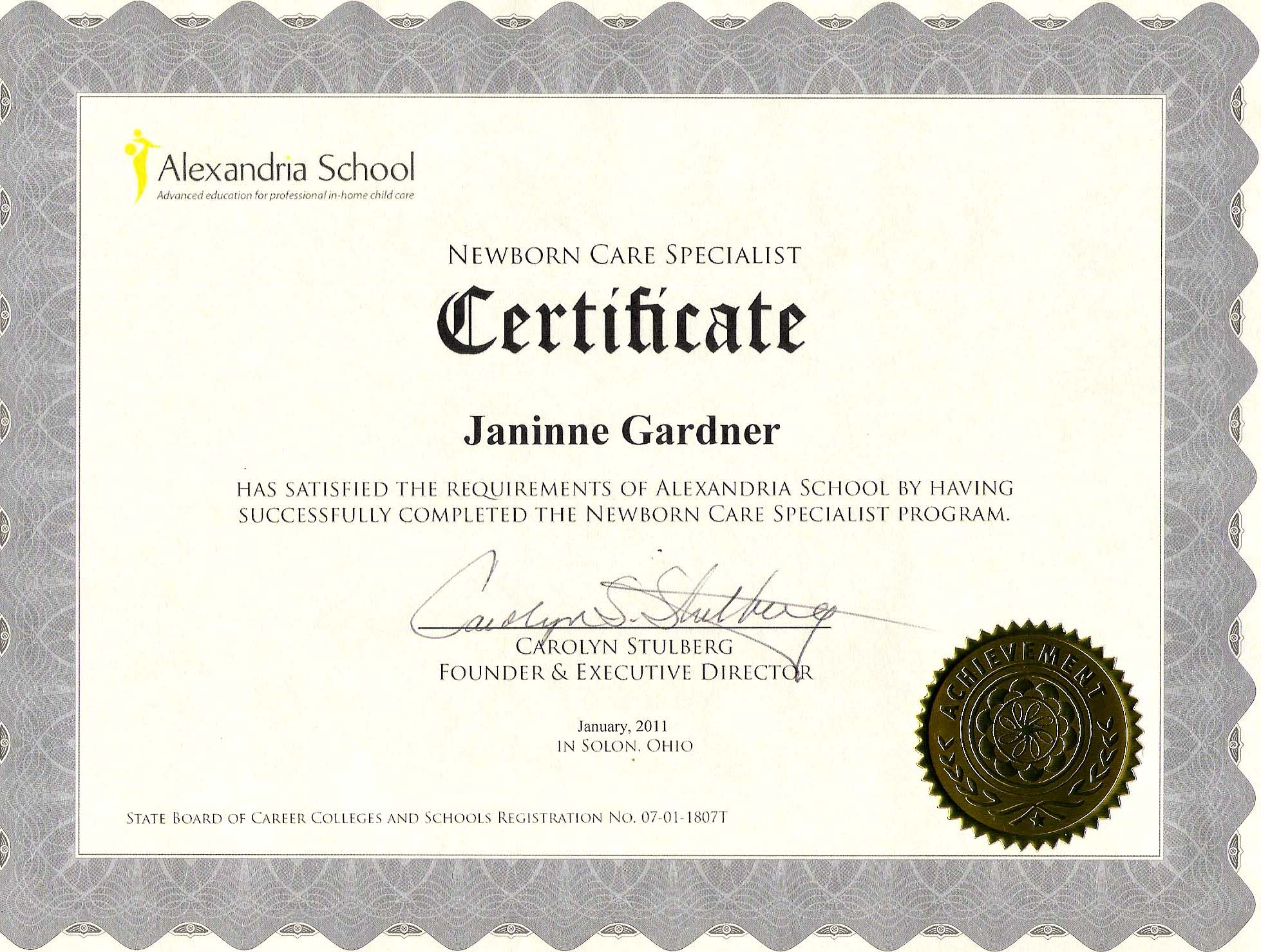 Education Certificates Janinne Gardner Newborn Care Specialist